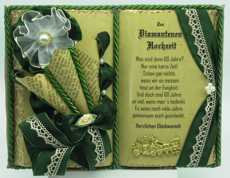 Deko Buch Diamantene Hochzeit Mit Holzbuchstander