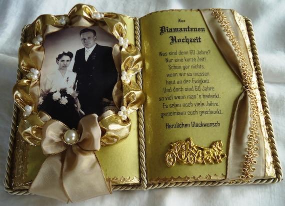 Deko Buch Zur Diamantene Hochzeit Fur Foto Mit Etsy