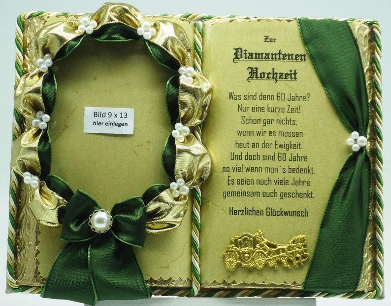 schönes handgefertigtes deko-buch zur diamantene hochzeit