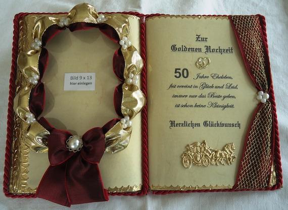 Deko Buch Goldene Hochzeit Für Foto Mit Holz Buchständer