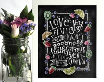 Fruit Of The Spirit Wall Art, Bible Verse Print, Scripture Art, Chalkboard Art, Chalk Art, Galations 5:22-23, Scripture Wall Art
