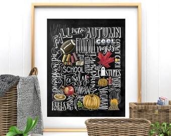 Fall Decor, Fall Word Art, Fall Art, Chalkboard Art, Chalk Art, Typography, Fall Subway Art, Autumn Decor, Pumpkins, Word Collage