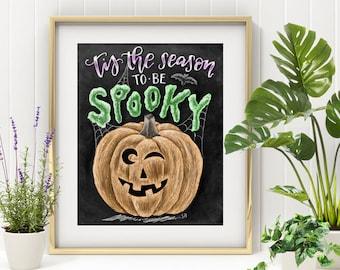 Tis The Season To Be Spooky, Halloween Art, Chalkboard Art, Chalk Art, Fall Decor, Jackolantern, Pumpkin Art, Autumn Decor, Pumpkin Spice