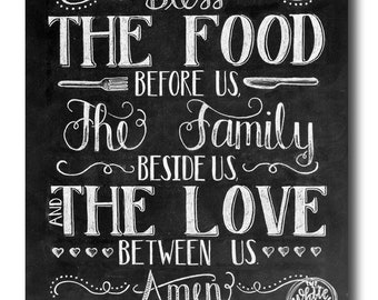 Superieur Kitchen Art, Dining Room Art, Bless The Food Before Us, Chalkboard Sign,  Family Art Print, Chalk Art Print, Kitchen Chalkboard Sign, Rustic