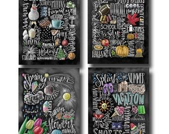 Four Seasons 4 Wall Art Chalkboard Chalk Home Decor