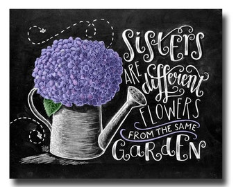 Sister Gift, Sister Art, Chalk Art, Sister Quote, Gift for Sister, Chalkboard Art, Hydrangea Print, Sisters Are Different Flowers