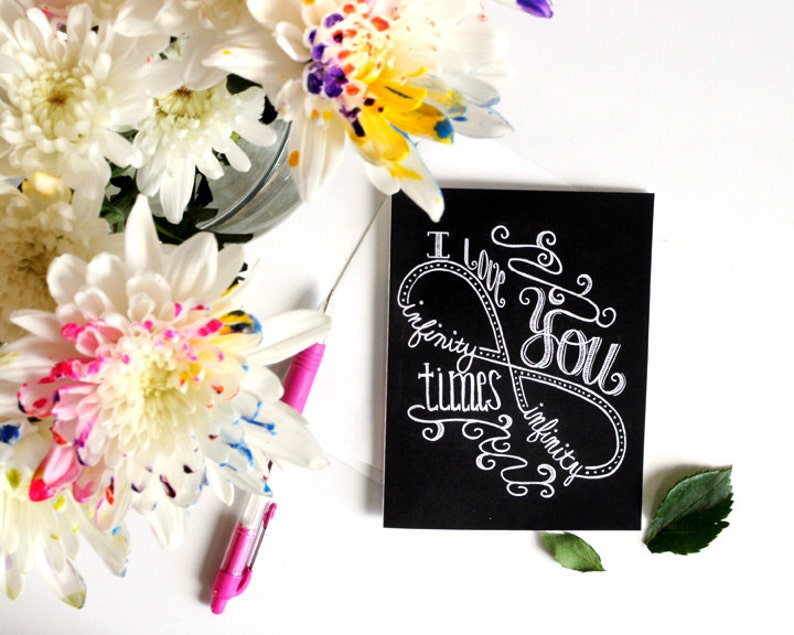 Love Card Anniversary Card Chalk Art I Love You Infinity Etsy