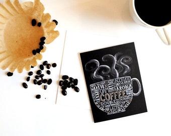 Coffee Card Coffee Gift Coffee Mug Coffee Art Subway Art Chalk Typography Hand Lettering Chalkboard Card Chalkboard Art Chalk Art
