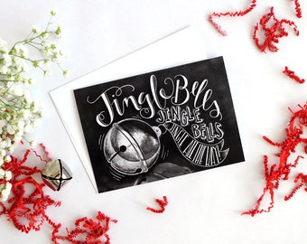 Holiday Card, Holiday Card Set, Jingle Bells, Jingle All The Way, Christmas Card, Christmas Card Set, Chalk Art, Chalkboard Art, Typography