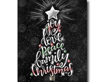 Christmas Decor, Christmas Tree Art, Chalkboard Art, Chalk Art, Christmas Print, Holiday Decor, Christmas Word Art, Joy Love Peace Believe