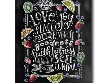 Fruit Of The Spirit Wall Art, Bible Verse Print, Scripture Art, Chalkboard Art, Chalk Art, Galations 5:22-23, Scripture Wall Art