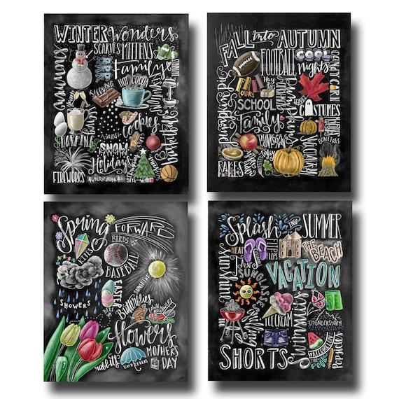 Four Seasons 4 Seasons Wall Art Chalkboard Art Chalk Art   Etsy