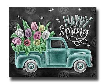 Spring Decor, Happy Spring, Spring Sign, Chalk Art, Chalkboard Art, Spring Vintage Truck, Tulip Art, Tulips, Spring Art, Farmhouse Decor