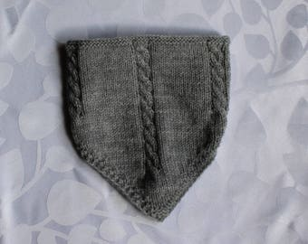 Triangle baby neck warmer, size 3 months, gray