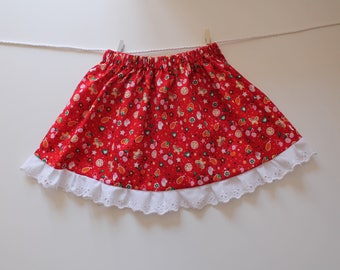 Baby girl skirt, size 18 months red with printed fruit