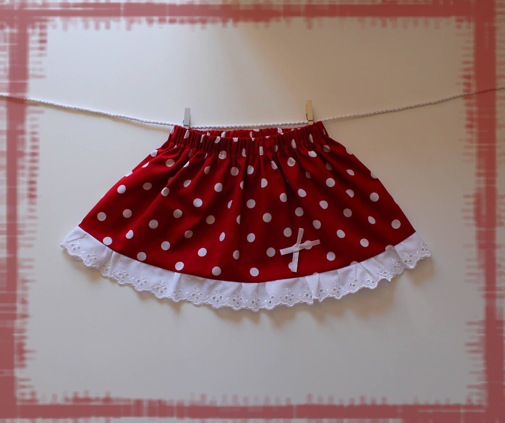 jupe b b fille taille 12 mois rouge pois blancs petit etsy. Black Bedroom Furniture Sets. Home Design Ideas