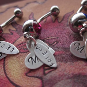 Best Bitches 4ever Personalized belly button rings Set of 3 Mature Content sterling silver tags and hearts BFF best friends forever