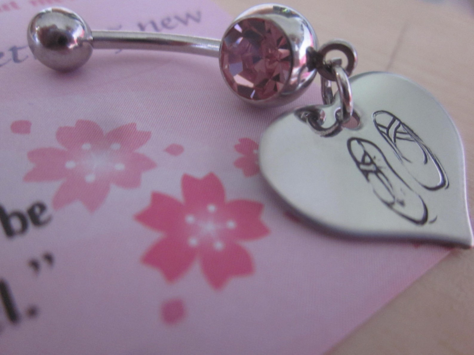 ballet slippers belly button ring hand stamped stainless steel hearts for ballerina, dancer, beautiful