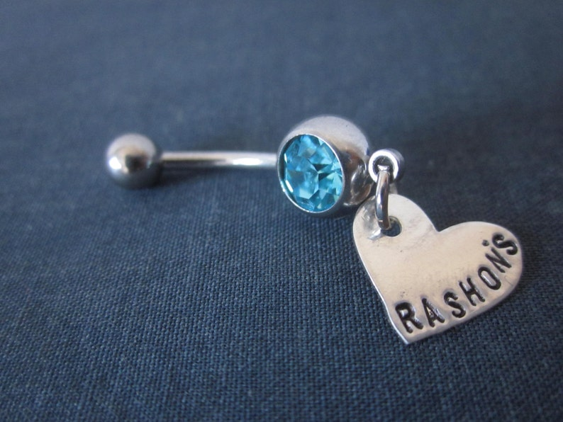 Personalized Belly Button Ring Personalized With Name Or Word Of Your Choice Hand Stamped Sterling Silver Heart Love Custom Made