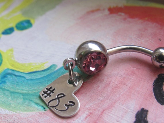 Number Belly Button Ring Personalized With Number Of Your Choosing Hand Stamped Sterling Silver Heart Love Custom Made