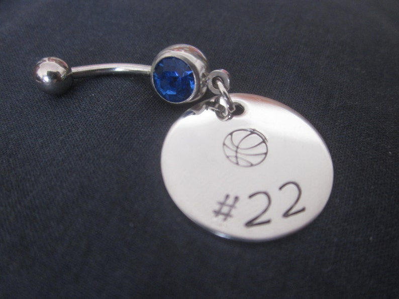 Basketball Number Belly Button Ring Personalized With Number Of Your Choosing Hand Stamped Stainless Steel Disc