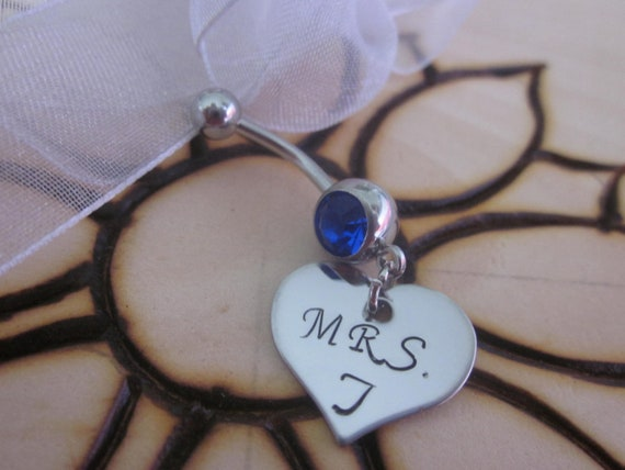 LEO Police Officer Badge Personalized Couples Initials Belly Ring Custom Body Jewelry