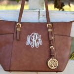 Monogram Purse Bag Tote, Beautiful Brown Monogrammed Purse , Brown Monogram Handbag, Designer Inspired Handbag, Designer Purse