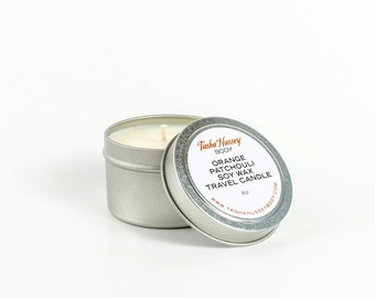 Orange Patchouli Travel Candle, Soy Wax Candle, Vegan Candle, Kosher Candle