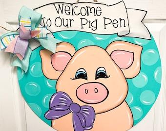 Farmhouse Pig with Glasses Summer Door Hanger