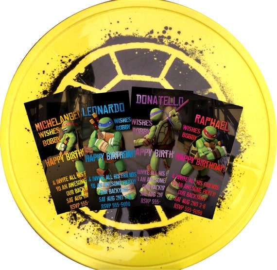 Teenage Muntant Ninja Turtle Birthday Party Invitation Tmnt Party Invitation Birthday Invitation Card Boys Birthday Invitation 10pack