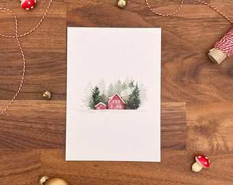 Greeting card, Christmas card, Merry Christmas, Christmas party, snowy landscape, Scandinavian landscape, snow, winter, watercolor