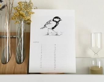 Perpetual calendar A5 to note birthdays, perpetual birthday calendar, verjaardagskalender, ewiger kalender, bird illustration