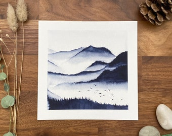 Watercolor mountain landscape - art print - 15 X 15 cm - In the valley