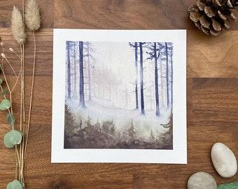 Watercolor mountain landscape - art print - 15 X 15 cm - enchanted forest