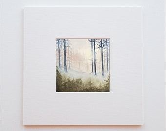 Original watercolor nature landscape - 15 X 15 cm -Enchanted forest (sold without frame)