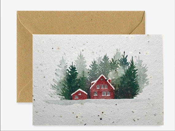 Carte de voeux paysage scandinave, carte à planter