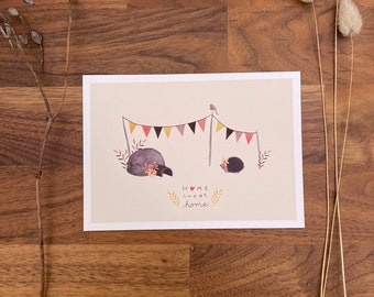 Postcard, postcard set, greeting card, watercolor, stationery, decoration, poster, hedgehog, home sweet home