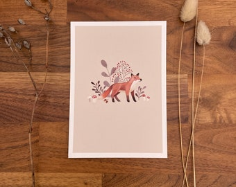 Postcard, postcard set, greeting card, watercolor, stationery, decoration, poster, fox
