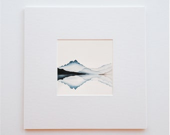 Original watercolor nature landscape - 15 X 15 cm - Bluish reflections (sold without frame)