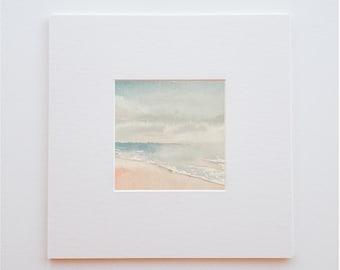 Original watercolor seaside landscape - 15 X 15 cm - Fullness. ( sold without frame )