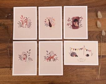 Postcard set, postcard set, greeting card, watercolor, stationery, decoration, poster, wood animals