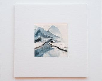 Original watercolor nature landscape - 14.5 X 14.5 cm - Blue mountain (sold without frame)