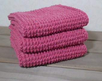 Crocheted Large Spa Washcloth - Tunisian Backpost Bump Stich - Set of 3 - Rose Cotton Yarn