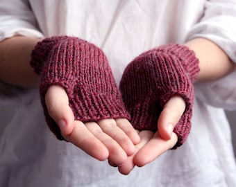 Wool Fingerless Gloves in Mulberry, Purple, Maroon - Winter Accessories - READY TO SHIP