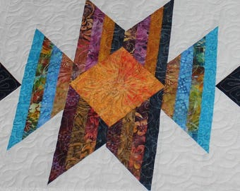 "Quilt pattern - Scrap Happy Squash Blossom - size 60"" x 94"" - PDF"