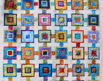 "Scrappy Squares - 56"" x 83"" - Scrap quilt pattern - PDF pattern"