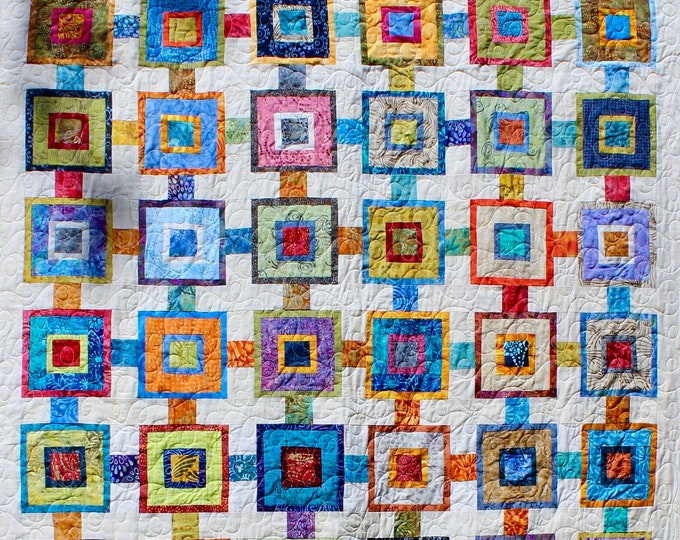 "Scrappy Squares - 56"" x 83"" - Scrap quilt pattern - PDF pattern"