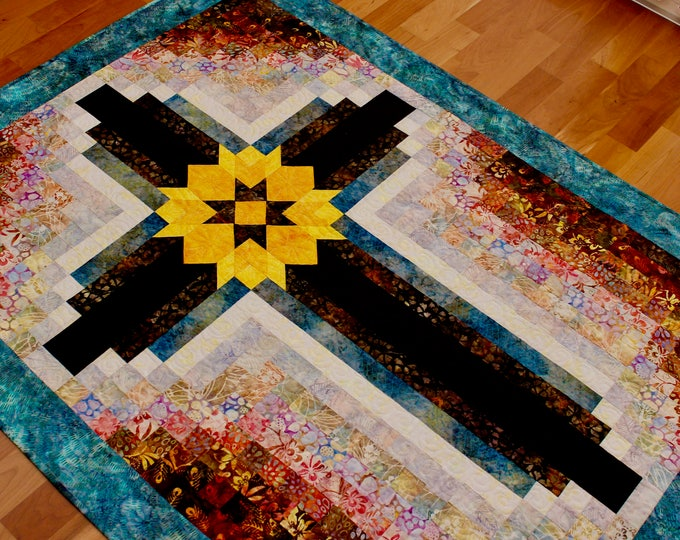 "PDF - Cross quilt pattern - Painted Cross: wall hanging 42 in. x 55 1/2"" in."