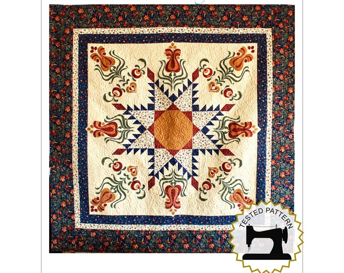 """Feathered Star with tulip appliqué - PDF quilt pattern - size 62"""" x 62"""""""