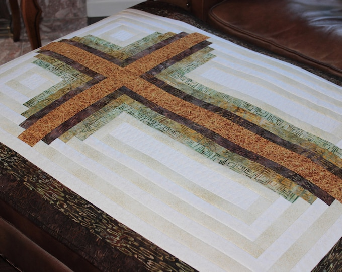 Log Cabin Cross - Christian Cross - Queen size: 90 in. x 104 in. , PDF Download
